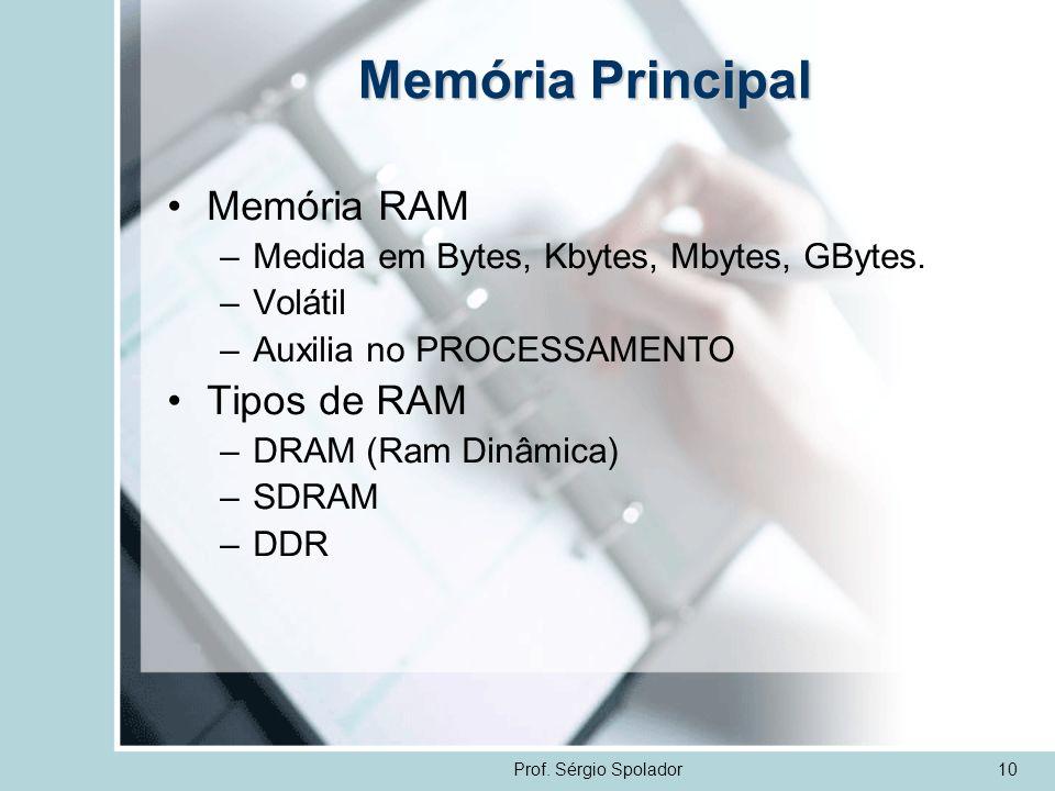 Prof. Sérgio Spolador10 Memória Principal Memória RAM –Medida em Bytes, Kbytes, Mbytes, GBytes. –Volátil –Auxilia no PROCESSAMENTO Tipos de RAM –DRAM