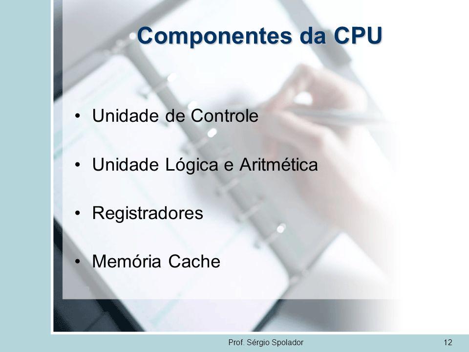 Prof. Sérgio Spolador12 Componentes da CPU Unidade de Controle Unidade Lógica e Aritmética Registradores Memória Cache