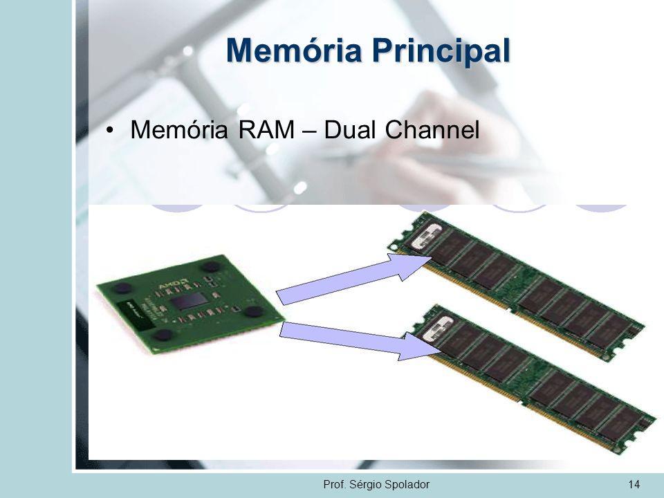 Prof. Sérgio Spolador14 Memória Principal Memória RAM – Dual Channel
