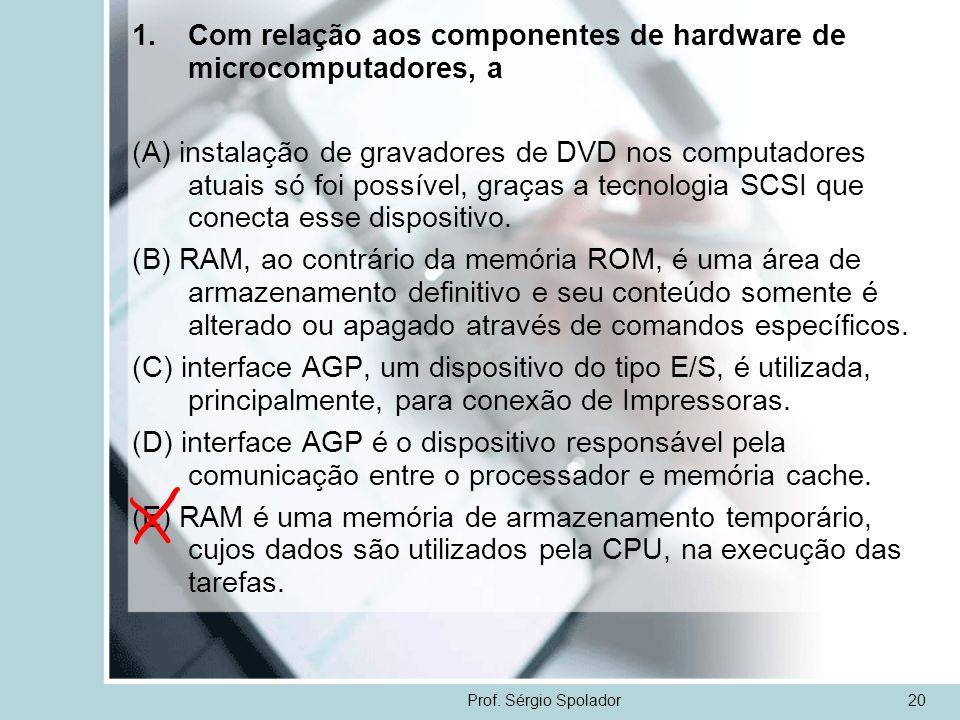 Prof. Sérgio Spolador20 1.Com relação aos componentes de hardware de microcomputadores, a (A) instalação de gravadores de DVD nos computadores atuais