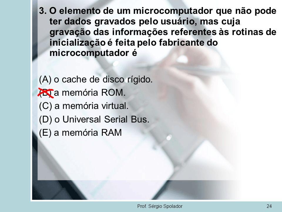 Prof. Sérgio Spolador24 3. O elemento de um microcomputador que não pode ter dados gravados pelo usuário, mas cuja gravação das informações referentes