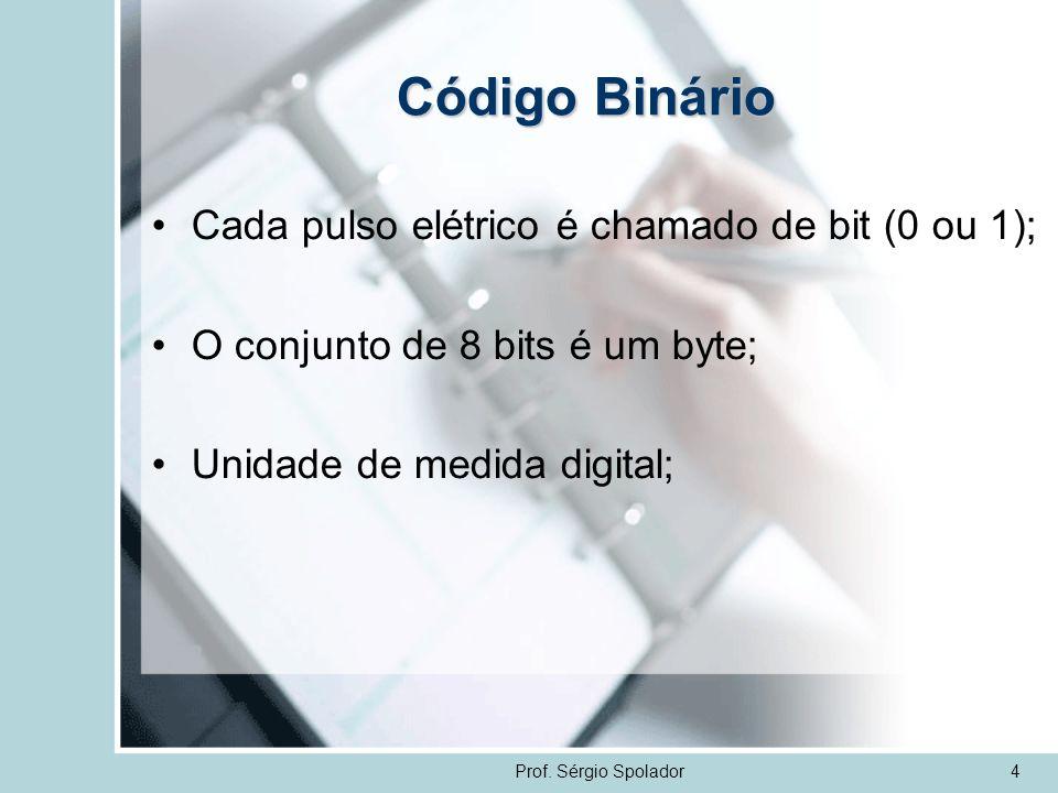 Prof. Sérgio Spolador4 Código Binário Cada pulso elétrico é chamado de bit (0 ou 1); O conjunto de 8 bits é um byte; Unidade de medida digital;