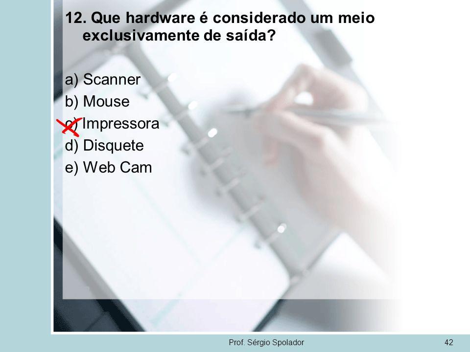 Prof. Sérgio Spolador42 12. Que hardware é considerado um meio exclusivamente de saída? a) Scanner b) Mouse c) Impressora d) Disquete e) Web Cam
