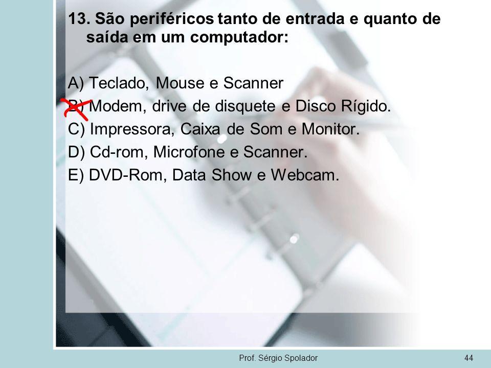 Prof. Sérgio Spolador44 13. São periféricos tanto de entrada e quanto de saída em um computador: A) Teclado, Mouse e Scanner B) Modem, drive de disque