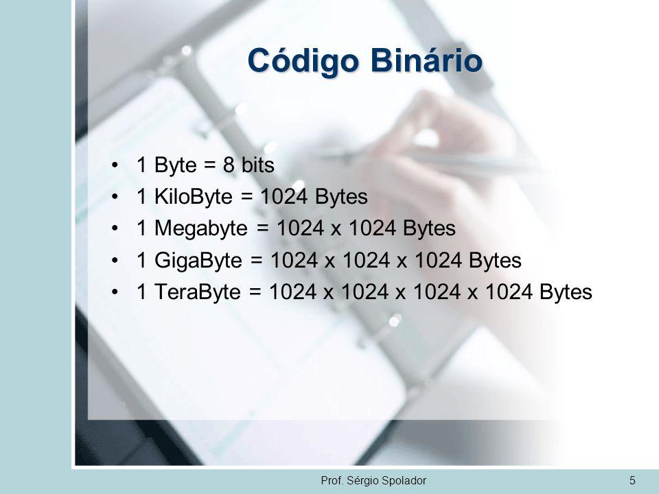 Prof. Sérgio Spolador5 Código Binário 1 Byte = 8 bits 1 KiloByte = 1024 Bytes 1 Megabyte = 1024 x 1024 Bytes 1 GigaByte = 1024 x 1024 x 1024 Bytes 1 T