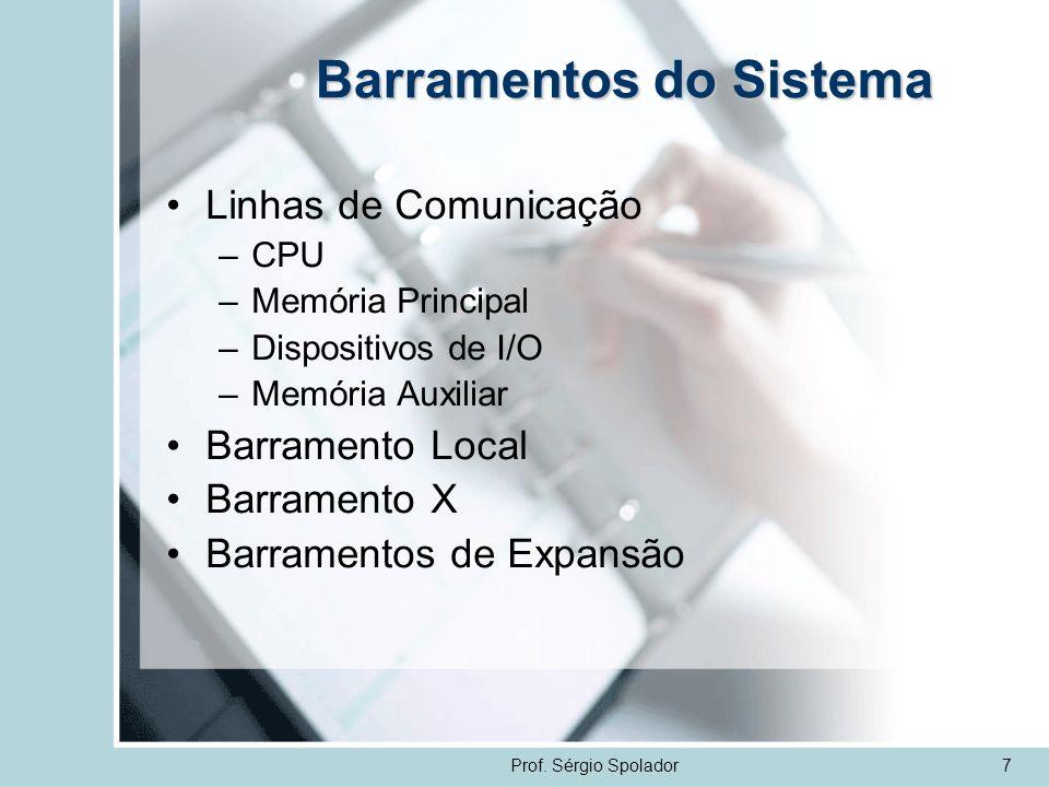 Prof. Sérgio Spolador7 Barramentos do Sistema Linhas de Comunicação –CPU –Memória Principal –Dispositivos de I/O –Memória Auxiliar Barramento Local Ba