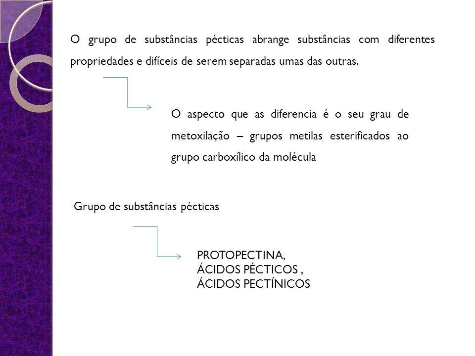 O grupo de substâncias pécticas abrange substâncias com diferentes propriedades e difíceis de serem separadas umas das outras. O aspecto que as difere