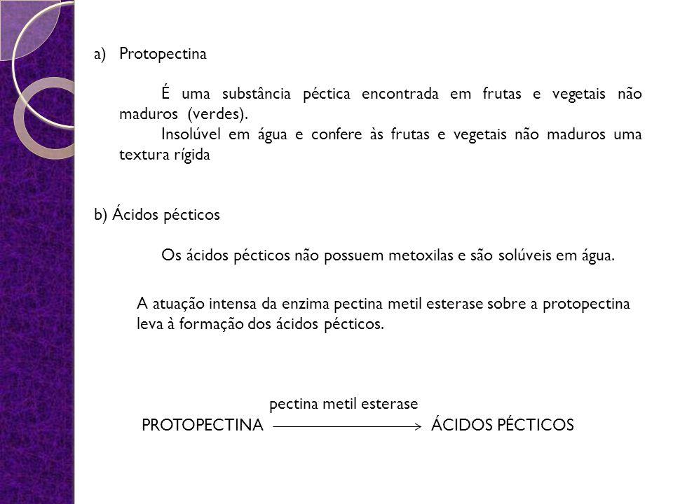 a)Protopectina É uma substância péctica encontrada em frutas e vegetais não maduros (verdes). Insolúvel em água e confere às frutas e vegetais não mad