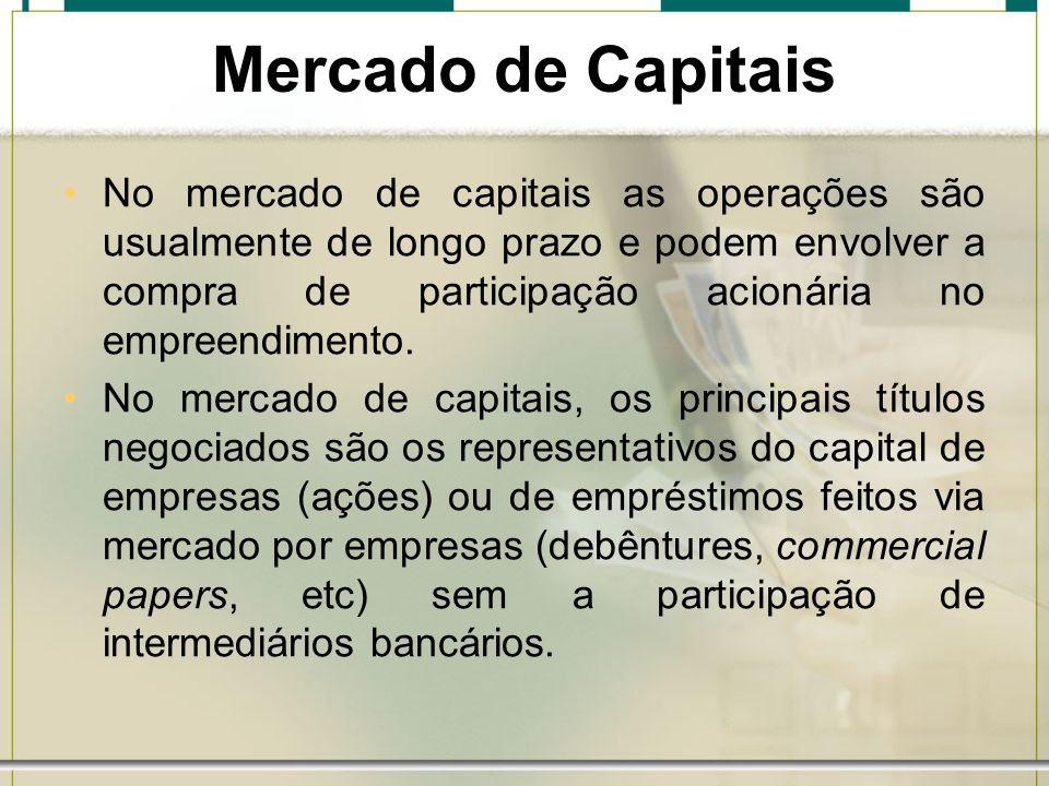 Mercado de Capitais No mercado de capitais as operações são usualmente de longo prazo e podem envolver a compra de participação acionária no empreendi