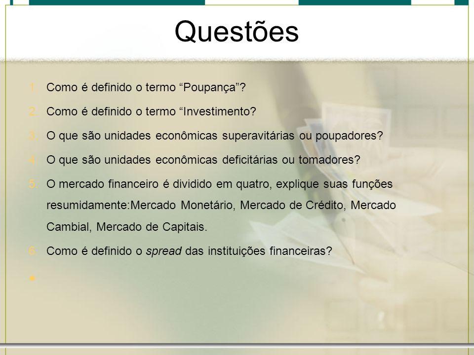 Questões 1.Como é definido o termo Poupança? 2.Como é definido o termo Investimento? 3.O que são unidades econômicas superavitárias ou poupadores? 4.O