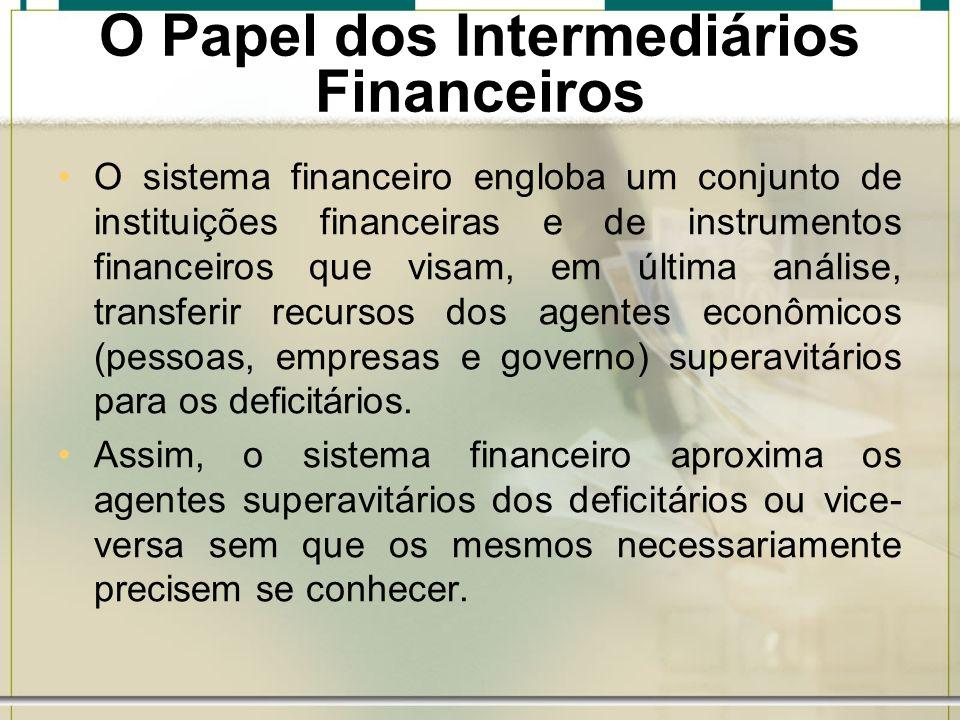 O Papel dos Intermediários Financeiros O sistema financeiro engloba um conjunto de instituições financeiras e de instrumentos financeiros que visam, e