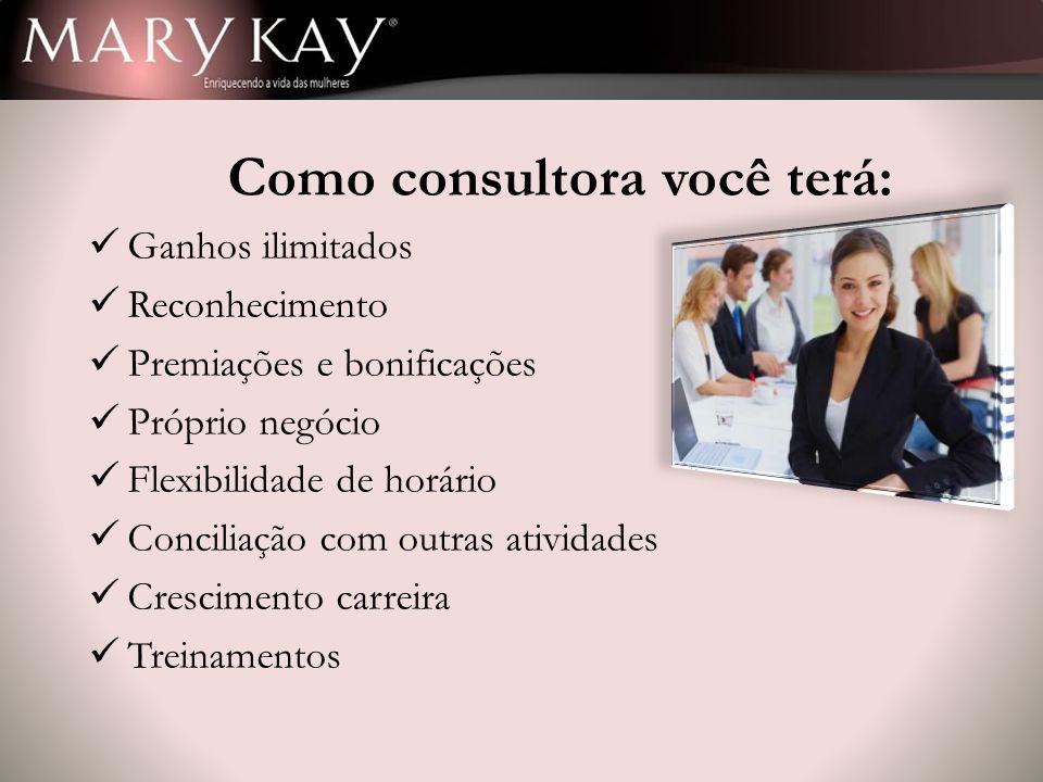 Como consultora você terá: Ganhos ilimitados Reconhecimento Premiações e bonificações Próprio negócio Flexibilidade de horário Conciliação com outras