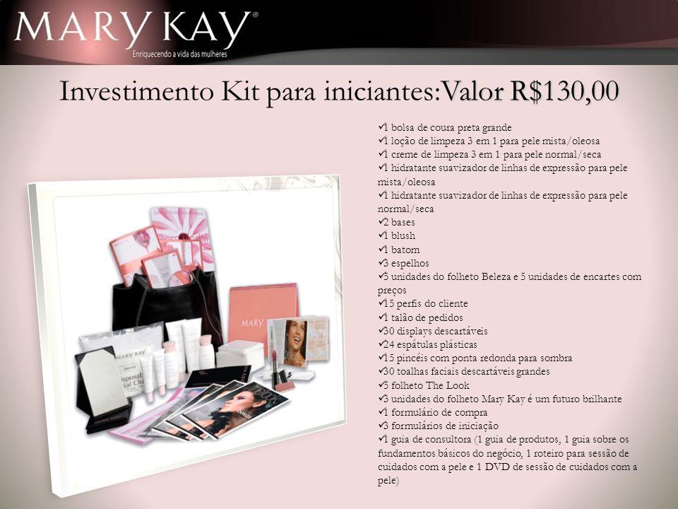 Valor R$130,00 Investimento Kit para iniciantes:Valor R$130,00 1 bolsa de coura preta grande 1 loção de limpeza 3 em 1 para pele mista/oleosa 1 creme
