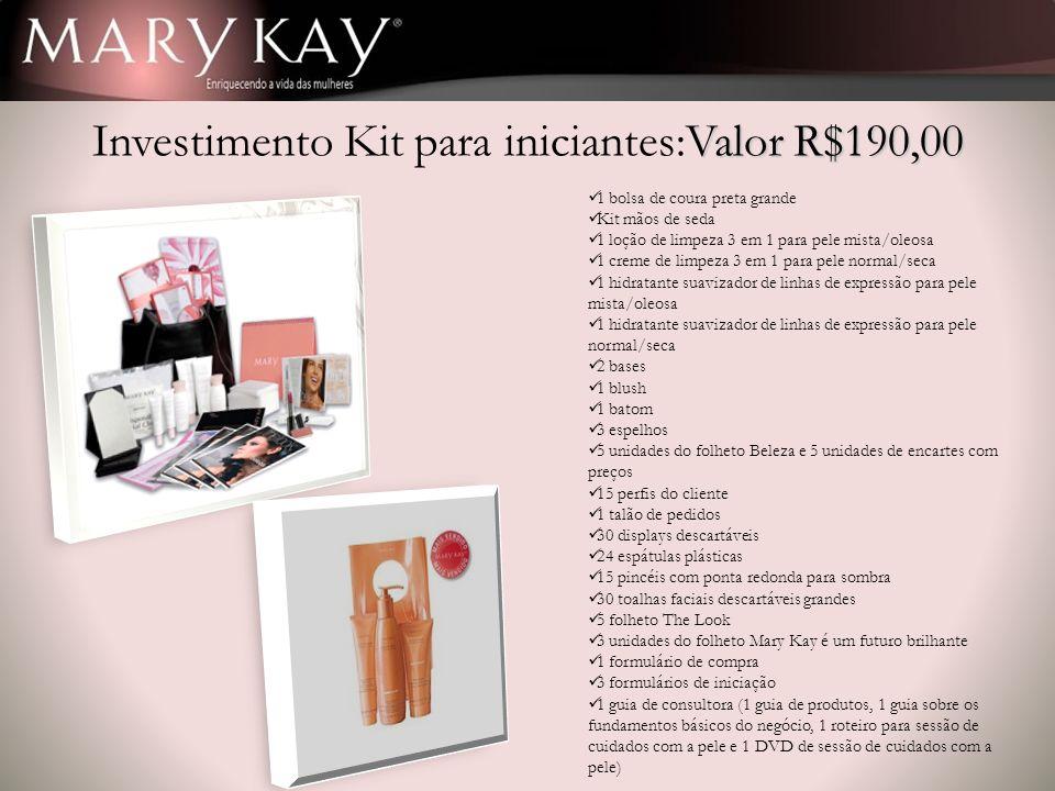 Valor R$190,00 Investimento Kit para iniciantes:Valor R$190,00 1 bolsa de coura preta grande Kit mãos de seda 1 loção de limpeza 3 em 1 para pele mist