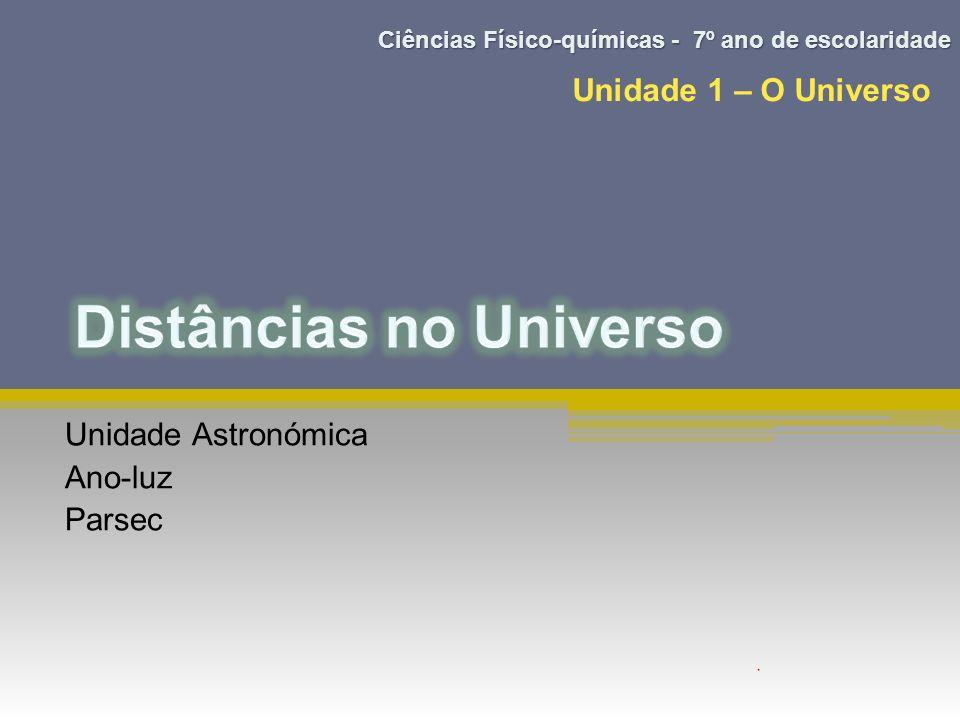 Unidade Astronómica Ano-luz Parsec Unidade 1 – O Universo Ciências Físico-químicas - 7º ano de escolaridade