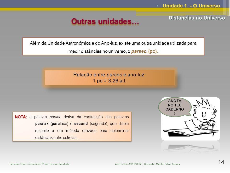 Ciências Físico-Químicas| 7º ano de escolaridadeAno Letivo 2011/2012 | Docente: Marília Silva Soares 14 Unidade 1 - O Universo Outras unidades… Além d