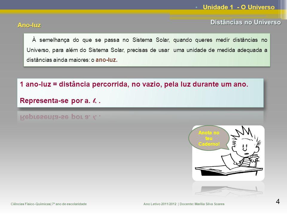 Ciências Físico-Químicas| 7º ano de escolaridadeAno Letivo 2011/2012 | Docente: Marília Silva Soares 5 Unidade 1 - O Universo Se 1 ano-luz é a distância que a luz percorre durante um ano, então quanto é essa distância.