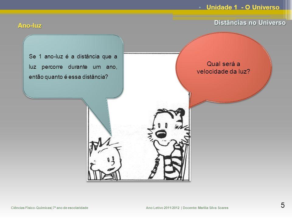 Ciências Físico-Químicas| 7º ano de escolaridadeAno Letivo 2011/2012 | Docente: Marília Silva Soares 6 Unidade 1 - O Universo Cá vamos nós, à velocidade da luz!!!!!.