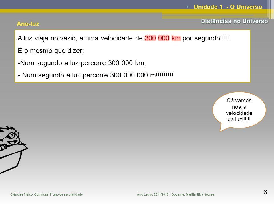 Ciências Físico-Químicas| 7º ano de escolaridadeAno Letivo 2011/2012 | Docente: Marília Silva Soares 7 Unidade 1 - O Universo Creio que existe uma relação entre a velocidade da luz e o tempo, em segundos, a que corresponde um ano.