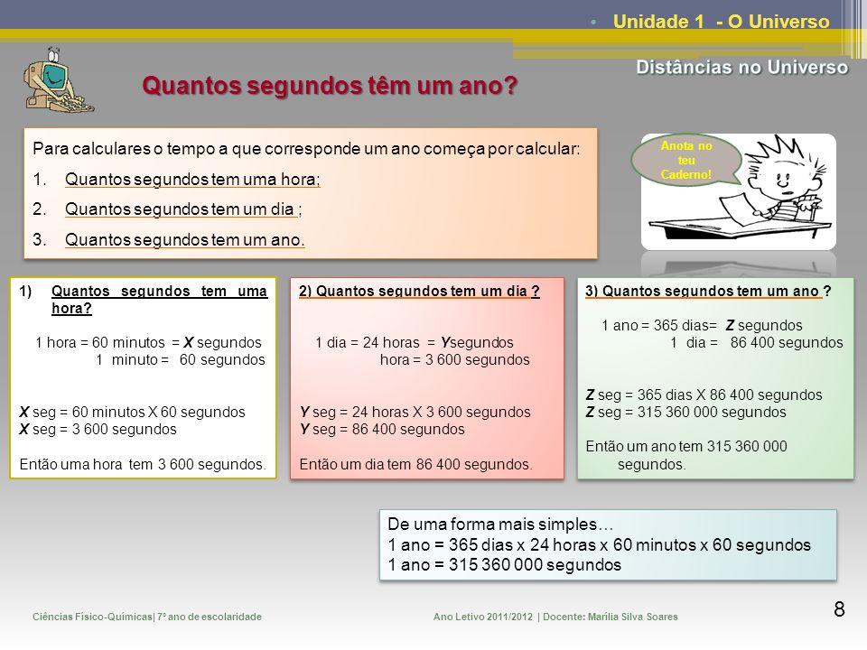 Ciências Físico-Químicas| 7º ano de escolaridadeAno Letivo 2011/2012 | Docente: Marília Silva Soares 9 Unidade 1 - O Universo Tenta resolver, no teu caderno o seguinte exercício!