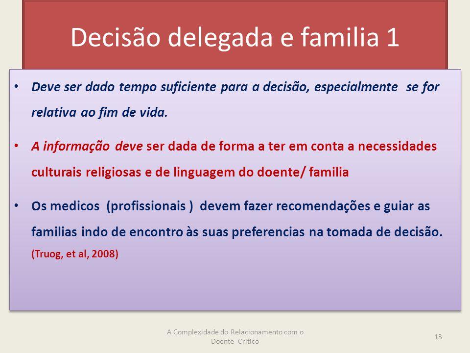Decisão delegada e familia 1 Deve ser dado tempo suficiente para a decisão, especialmente se for relativa ao fim de vida.