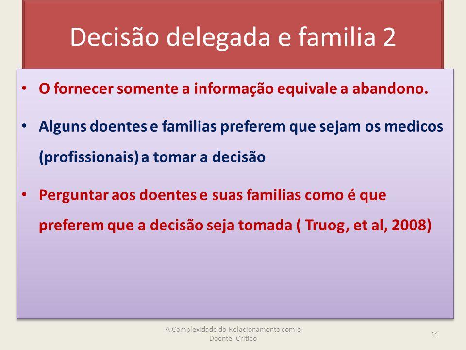 Decisão delegada e familia 2 O fornecer somente a informação equivale a abandono.