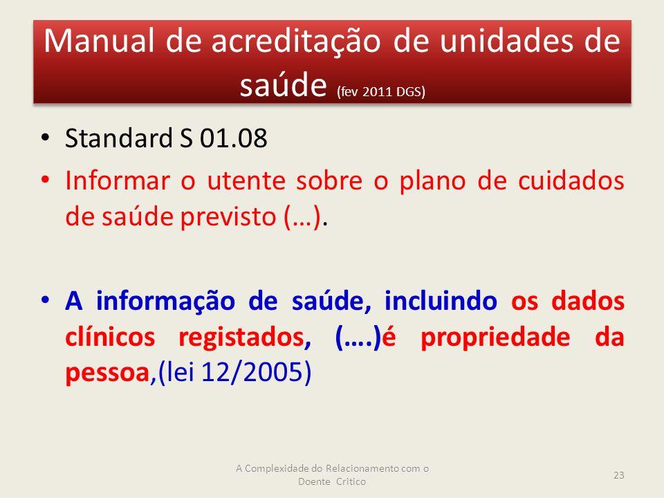 Manual de acreditação de unidades de saúde (fev 2011 DGS) Standard S 01.08 Informar o utente sobre o plano de cuidados de saúde previsto (…).