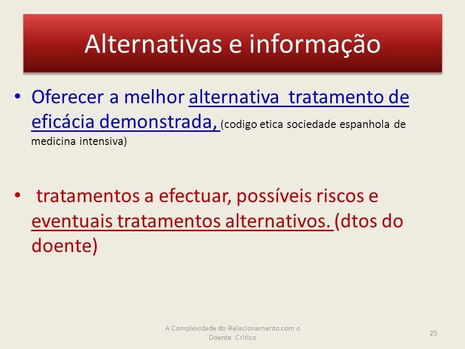 Alternativas e informação Oferecer a melhor alternativa tratamento de eficácia demonstrada, (codigo etica sociedade espanhola de medicina intensiva) tratamentos a efectuar, possíveis riscos e eventuais tratamentos alternativos.