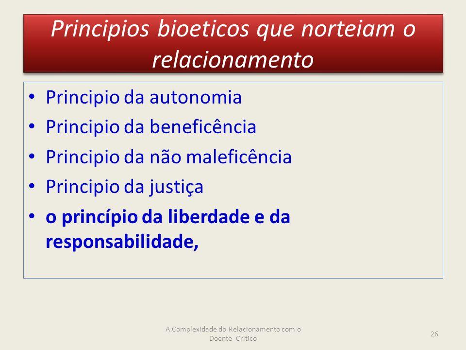Principios bioeticos que norteiam o relacionamento Principio da autonomia Principio da beneficência Principio da não maleficência Principio da justiça o princípio da liberdade e da responsabilidade, A Complexidade do Relacionamento com o Doente Critico 26