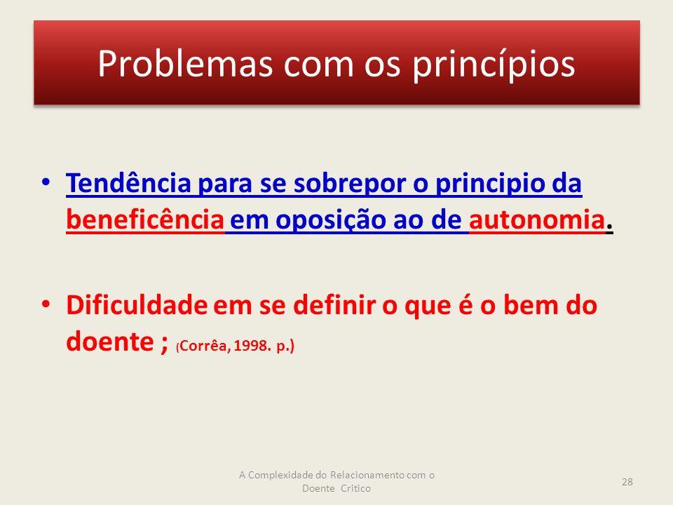 Problemas com os princípios Tendência para se sobrepor o principio da beneficência em oposição ao de autonomia.