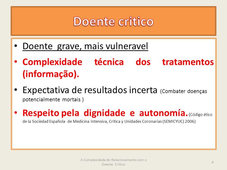 Doente grave, mais vulneravel Complexidade técnica dos tratamentos (informação).