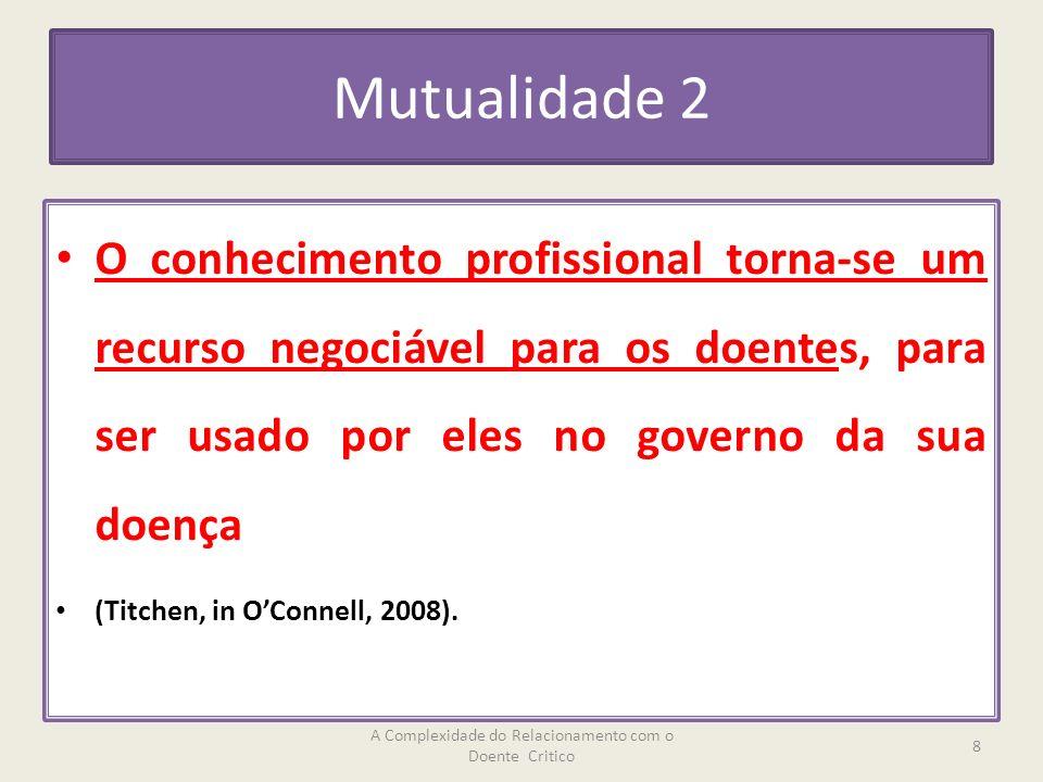 Mutualidade 2 O conhecimento profissional torna-se um recurso negociável para os doentes, para ser usado por eles no governo da sua doença (Titchen, in OConnell, 2008).