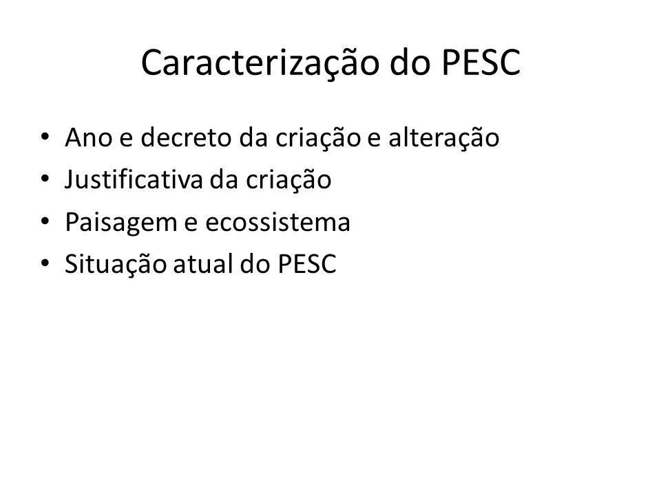 Caracterização do PESC Ano e decreto da criação e alteração Justificativa da criação Paisagem e ecossistema Situação atual do PESC