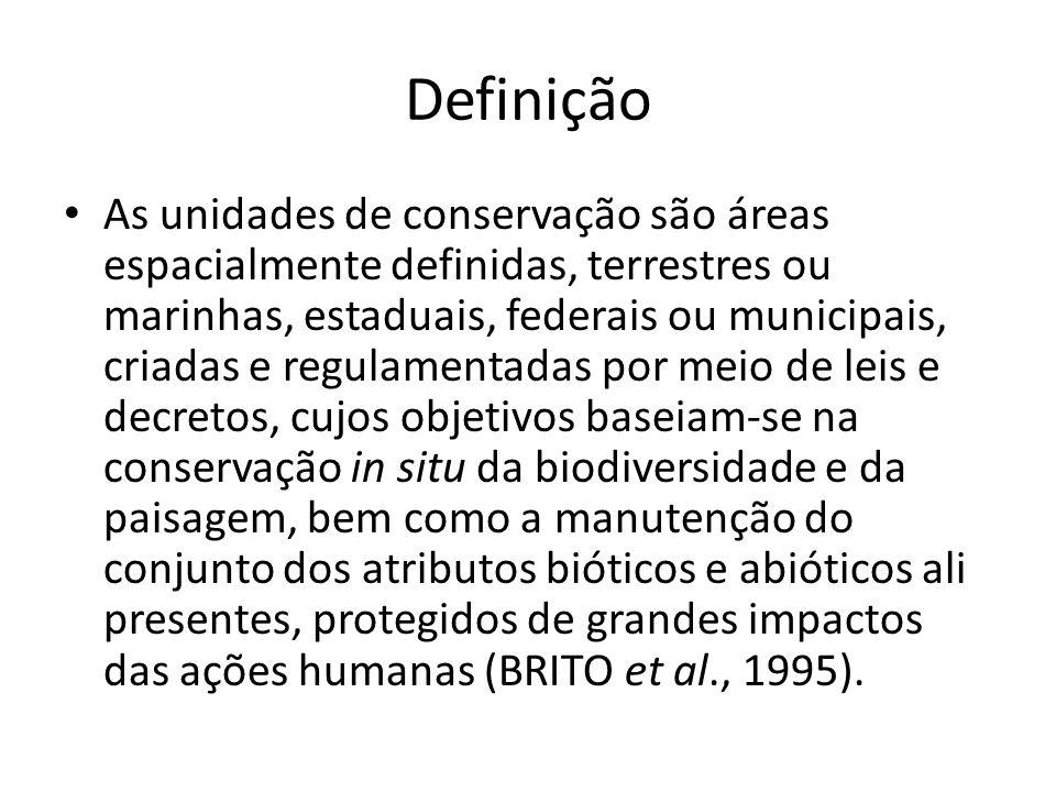 Definição As unidades de conservação são áreas espacialmente definidas, terrestres ou marinhas, estaduais, federais ou municipais, criadas e regulamentadas por meio de leis e decretos, cujos objetivos baseiam-se na conservação in situ da biodiversidade e da paisagem, bem como a manutenção do conjunto dos atributos bióticos e abióticos ali presentes, protegidos de grandes impactos das ações humanas (BRITO et al., 1995).