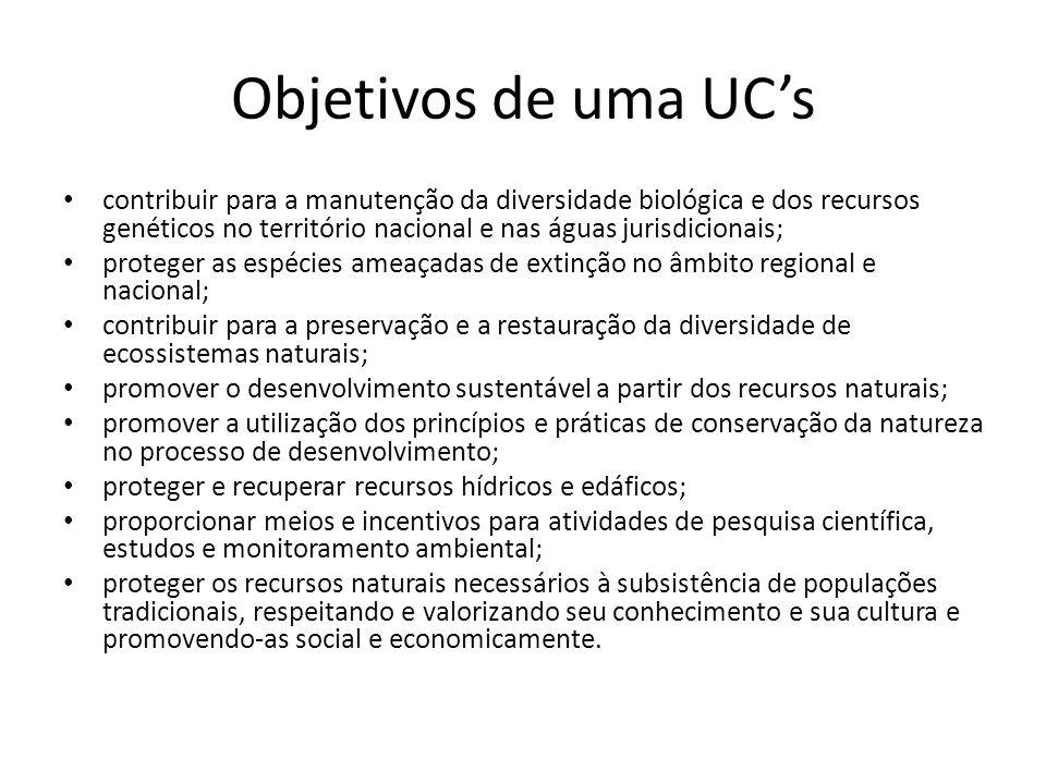 Objetivos de uma UCs contribuir para a manutenção da diversidade biológica e dos recursos genéticos no território nacional e nas águas jurisdicionais;