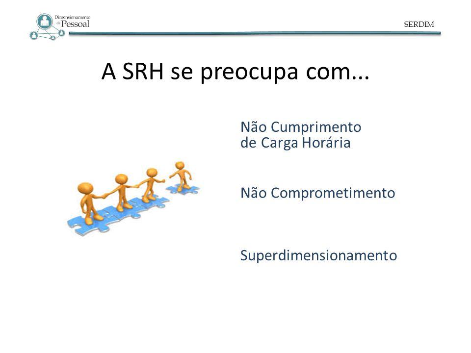 SERDIM A SRH se preocupa com... Superdimensionamento Não Comprometimento Não Cumprimento de Carga Horária