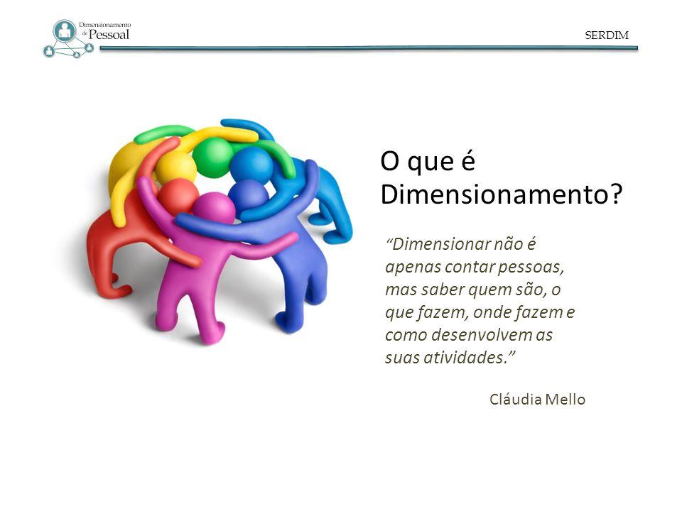 SERDIM Dimensionar não é apenas contar pessoas, mas saber quem são, o que fazem, onde fazem e como desenvolvem as suas atividades. Cláudia Mello O que