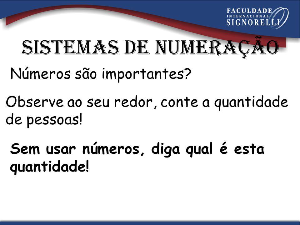 Sistemas de numeração Números são importantes.Observe ao seu redor, conte a quantidade de pessoas.