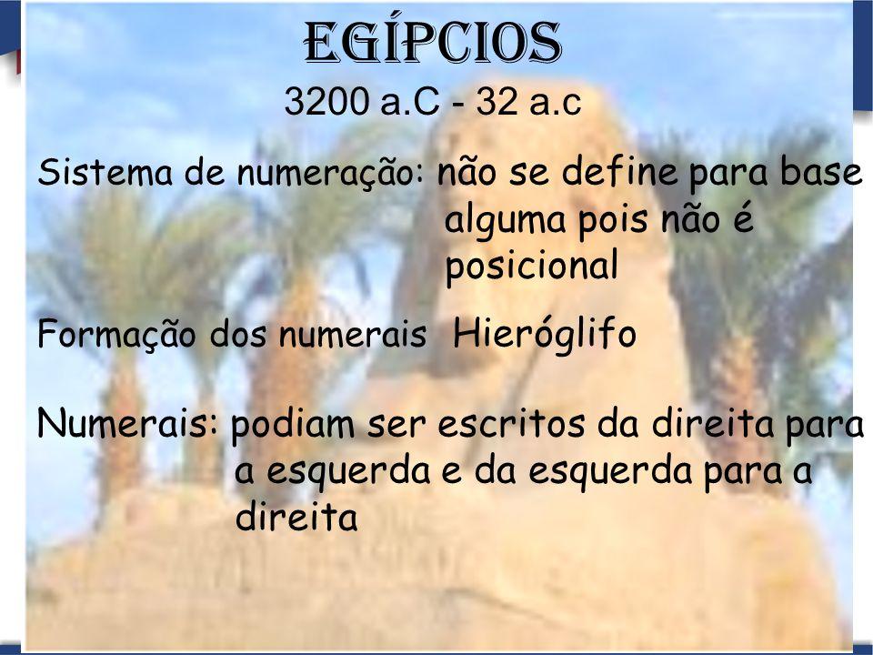 Egípcios 3200 a.C - 32 a.c Sistema de numeração: não se define para base alguma pois não é posicional Formação dos numerais Hieróglifo Numerais: podiam ser escritos da direita para a esquerda e da esquerda para a direita