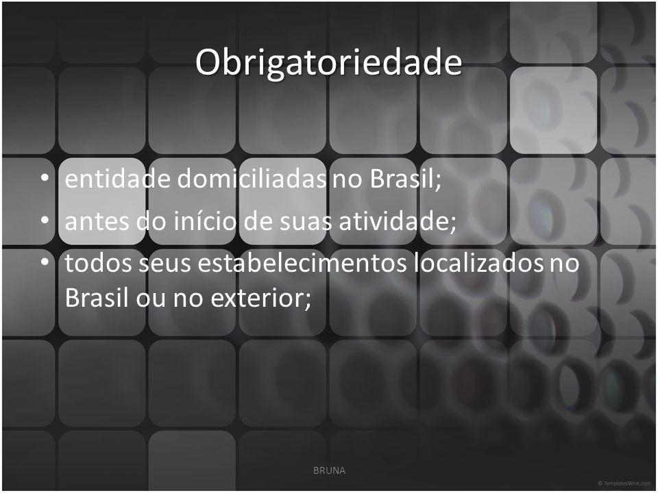 Obrigatoriedade entidade domiciliadas no Brasil; antes do início de suas atividade; todos seus estabelecimentos localizados no Brasil ou no exterior; BRUNA