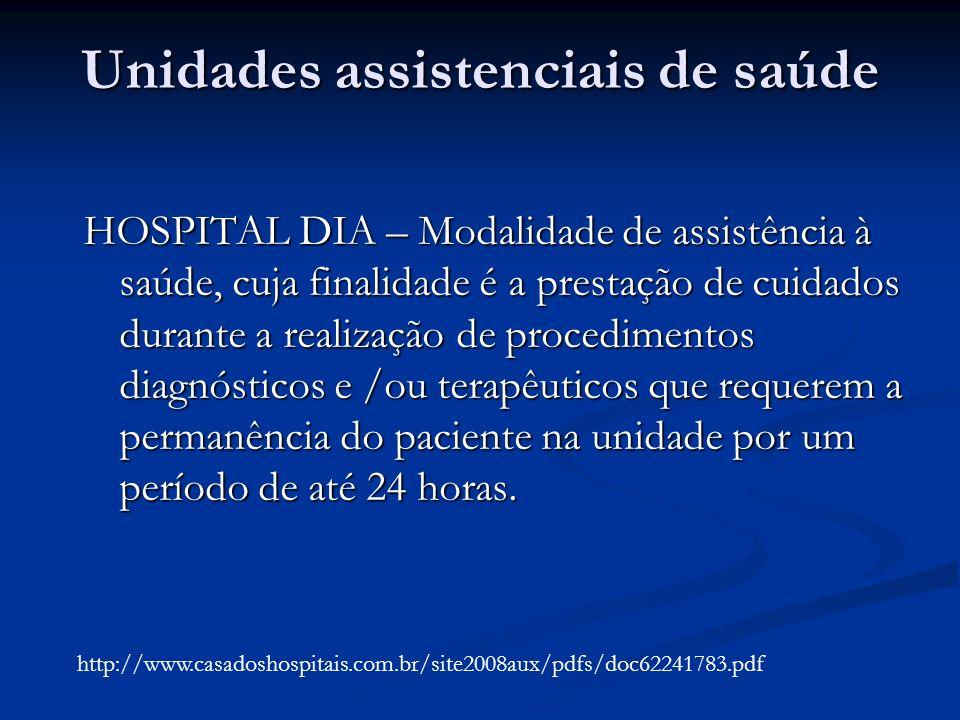 Unidades assistenciais de saúde HOSPITAL DIA – Modalidade de assistência à saúde, cuja finalidade é a prestação de cuidados durante a realização de pr