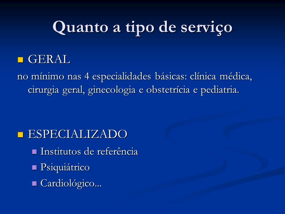 Quanto a tipo de serviço GERAL GERAL no mínimo nas 4 especialidades básicas: clínica médica, cirurgia geral, ginecologia e obstetrícia e pediatria. ES