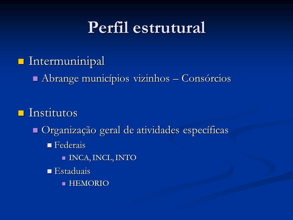 Perfil estrutural Intermuninipal Intermuninipal Abrange municípios vizinhos – Consórcios Abrange municípios vizinhos – Consórcios Institutos Instituto