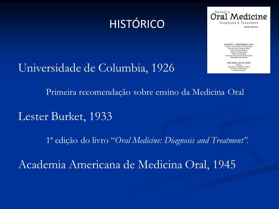 Universidade de Columbia, 1926 Primeira recomendação sobre ensino da Medicina Oral Lester Burket, 1933 1ª edição do livro Oral Medicine: Diagnosis and