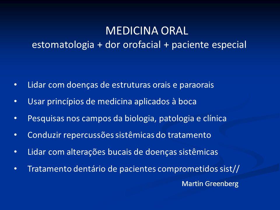 Lidar com doenças de estruturas orais e paraorais Usar princípios de medicina aplicados à boca Pesquisas nos campos da biologia, patologia e clínica C