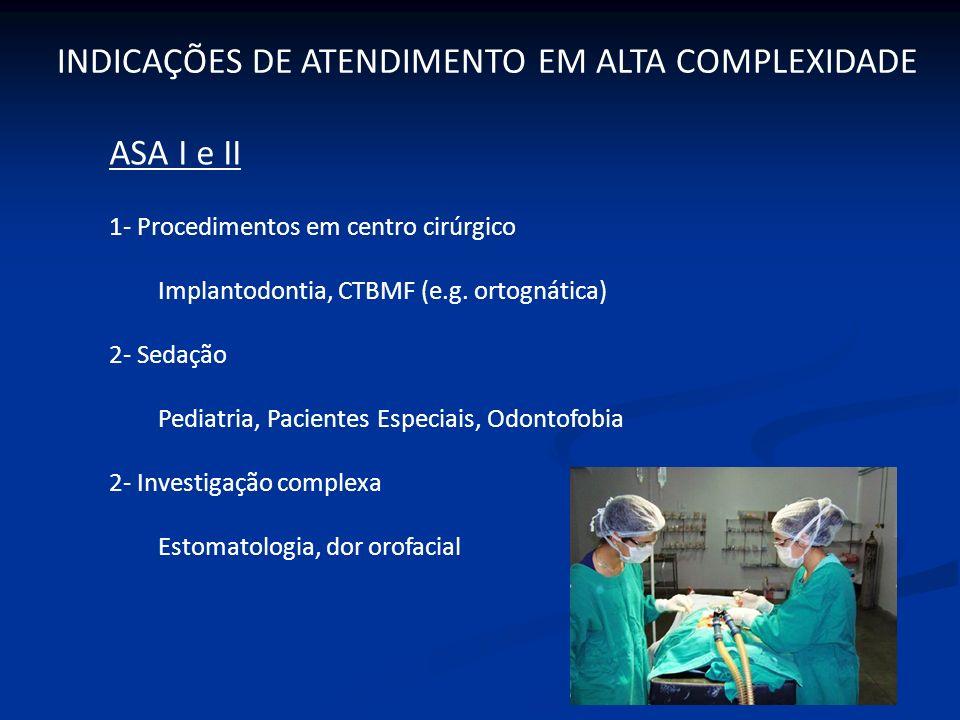 ASA I e II 1- Procedimentos em centro cirúrgico Implantodontia, CTBMF (e.g. ortognática) 2- Sedação Pediatria, Pacientes Especiais, Odontofobia 2- Inv
