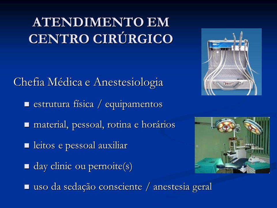 ATENDIMENTO EM CENTRO CIRÚRGICO Chefia Médica e Anestesiologia Chefia Médica e Anestesiologia estrutura física / equipamentos estrutura física / equip