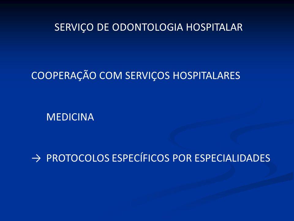COOPERAÇÃO COM SERVIÇOS HOSPITALARES MEDICINA PROTOCOLOS ESPECÍFICOS POR ESPECIALIDADES SERVIÇO DE ODONTOLOGIA HOSPITALAR