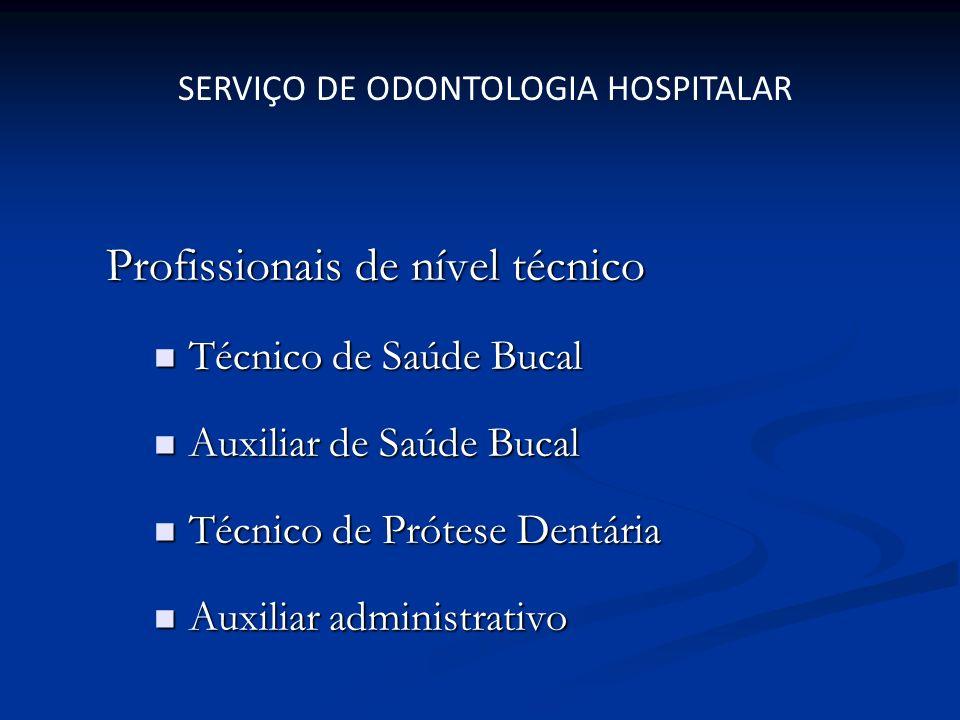 Profissionais de nível técnico Técnico de Saúde Bucal Técnico de Saúde Bucal Auxiliar de Saúde Bucal Auxiliar de Saúde Bucal Técnico de Prótese Dentár