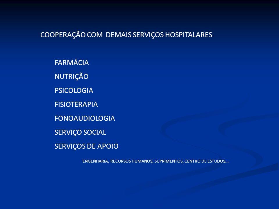COOPERAÇÃO COM DEMAIS SERVIÇOS HOSPITALARES FARMÁCIA NUTRIÇÃO PSICOLOGIA FISIOTERAPIA FONOAUDIOLOGIA SERVIÇO SOCIAL SERVIÇOS DE APOIO ENGENHARIA, RECU